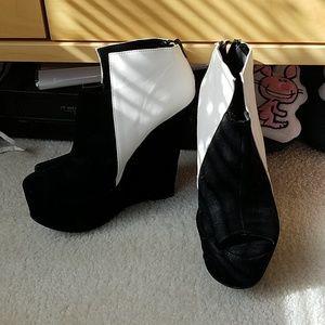 Shoes - Black/White Velvet/Faux Leather Wedges